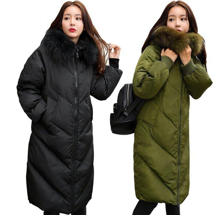 NEW 『情侶外套』大尺碼白鴨絨XL~5XL外套 柔軟真毛領長款羽絨外套軍綠色/黑色男女可穿!