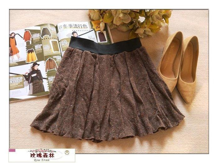 玫瑰森林-- ☆°*美麗嚴選~秋冬多層次搭配  咖啡色針織 短裙 (特價)