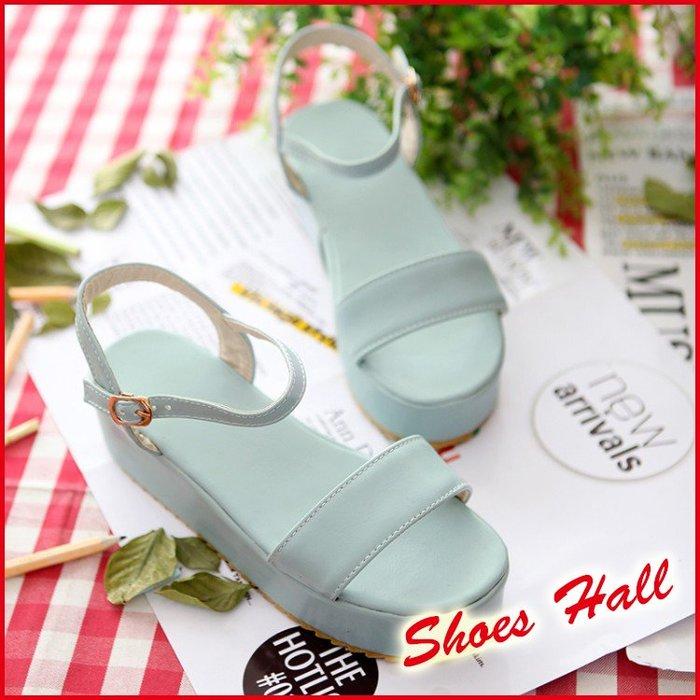 *鞋館Shoes hall*【C10701】舒適美型~甜美糖果一字厚底涼鞋~3色~(可訂作大尺碼)