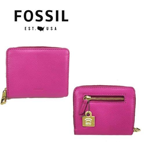FOSSIL新款防側錄 壓紋LOGO/對折短夾(口袋型)鈔票夾/零錢袋/證件夾【現貨】粉色↗小夫妻精品嚴選2018↖
