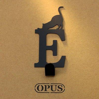 當貓咪遇上字母E 《經典黑》2017聖誕禮物 壁飾掛勾 造型無痕掛鉤 交換禮【OPUS東齊金工】HO-ca10-E(B)