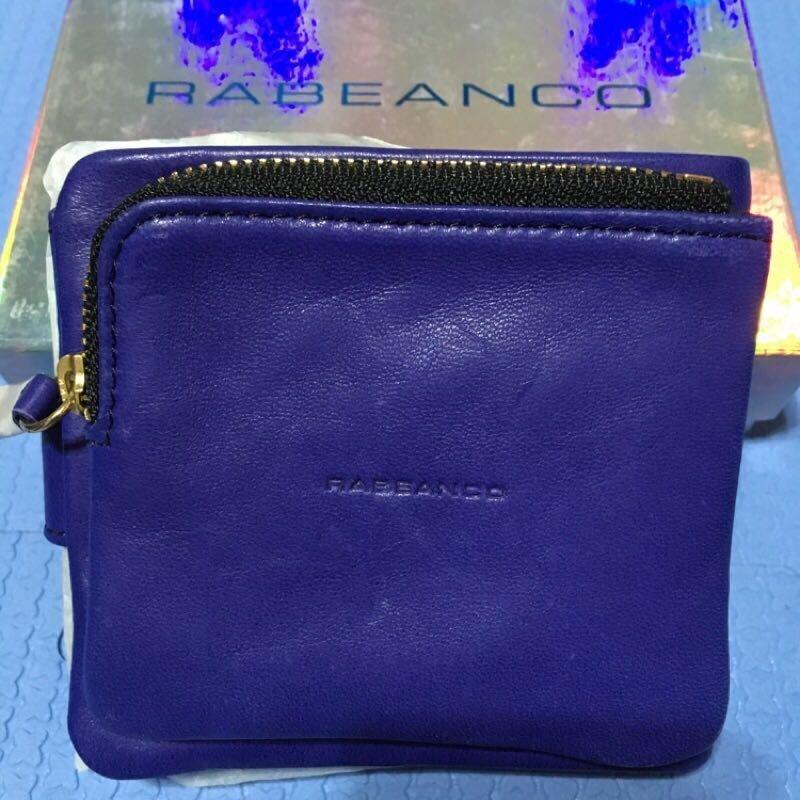 全新Rabeanco寶藍色小羊皮雙層短夾 皮夾