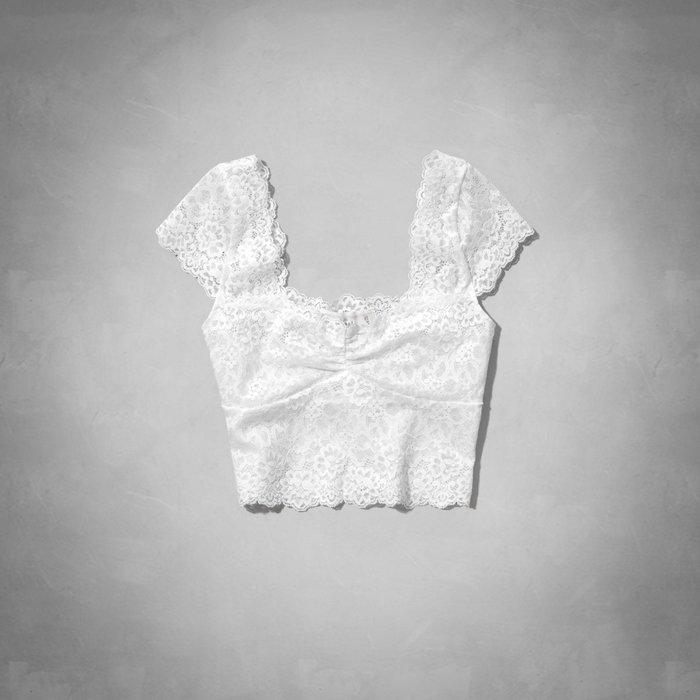 【天普小棧】AF A&F Abercrombie&Fitch Rylie Cropped Top甜美全蕾絲短袖上衣 XS