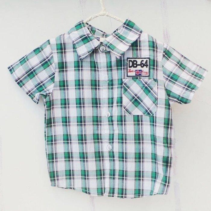【班比納精品童裝】DB-64格子襯衫-綠【BO140623033】