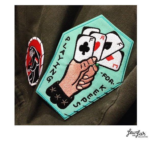 GOODFORIT / 澳洲刺青創作品牌Few & Far電繡賭徒撲克棺材貼布/11 x 8.5CM
