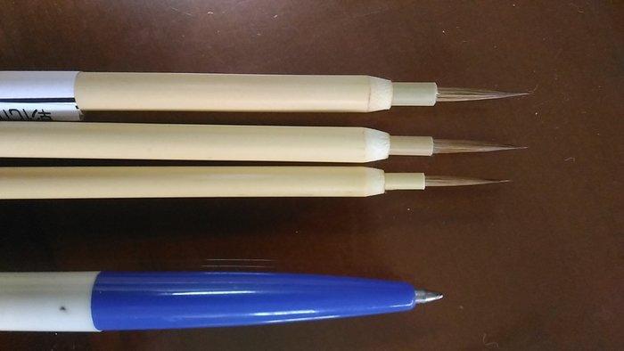 佛像用 1號 特細 描線筆 油性 不掉毛 極細 超細 畫眉筆 描線 細線 描邊 彈性佳 毛長12mm  寬1mm 畫筆