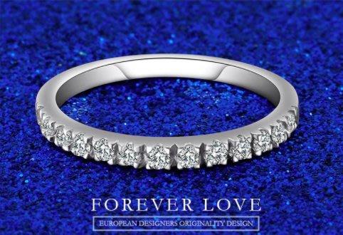 專屬制訂 13個小排鑽 訂婚戒指 求婚戒指 鑽石戒指 戒圍21cm 白金色 D-E極白 主鑽分數1分