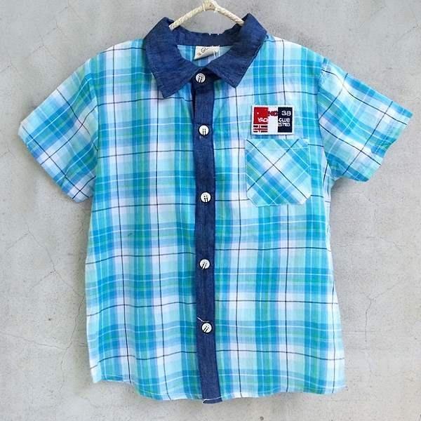 【班比納精品童裝】國旗格子襯衫-藍【BO140623035】