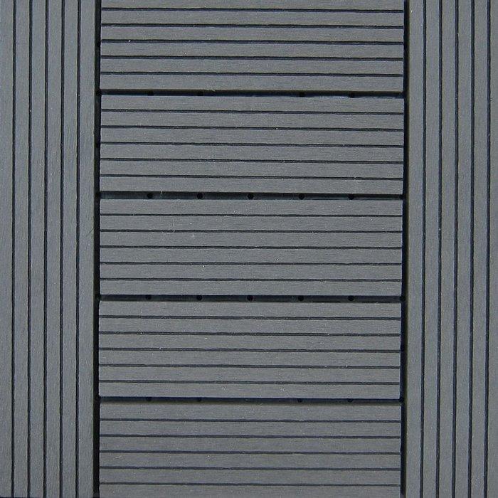 【貝力地板】太陽神戶外塑木地板DIY景觀佈置-1P101深灰H型(9片/箱)