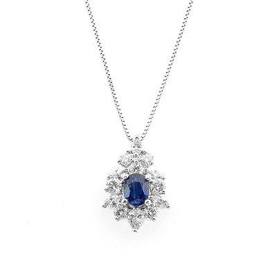 【JHT 金宏總珠寶/GIA鑽石專賣】0.86ct天然藍寶墜鍊/材質:14K(S00024)