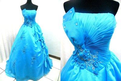 *~時尚屋~*二手婚紗禮服~大尺碼~水藍色水鑽露肩法式設計師浪漫款《二手禮服》~K282(歡迎預約試穿)