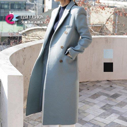 外套長大衣風衣 高雅品味超長款修身毛呢大衣 艾爾莎【TAK5837】