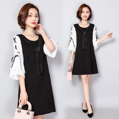 GOGO SHOP☆╭韓系 燈籠袖流蘇雪紡拼接連身裙 七分袖雪紡洋裝【Y2228】XL-5XL大碼顯瘦洋裝