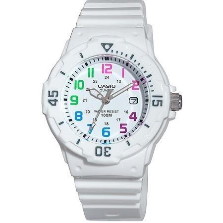 CASIO WATCH 卡西歐彩繪數字刻劃混搭潛水風格白色膠帶運動腕錶 型號:LRW-200H-7BVDF【神梭鐘錶】
