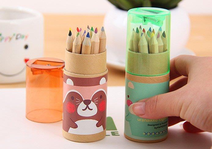 非萌不可-彩色小熊12色紙筒繪畫鉛筆