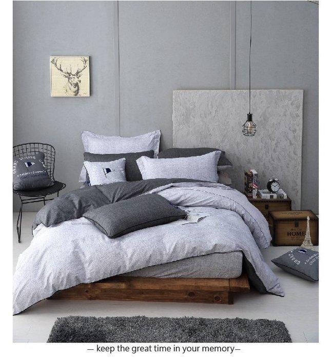 【OLIVIA 】 DR730 LUCAS 雙色  標準雙人床包冬夏兩用被套四件組 【床包淺灰款】 都會簡約系列