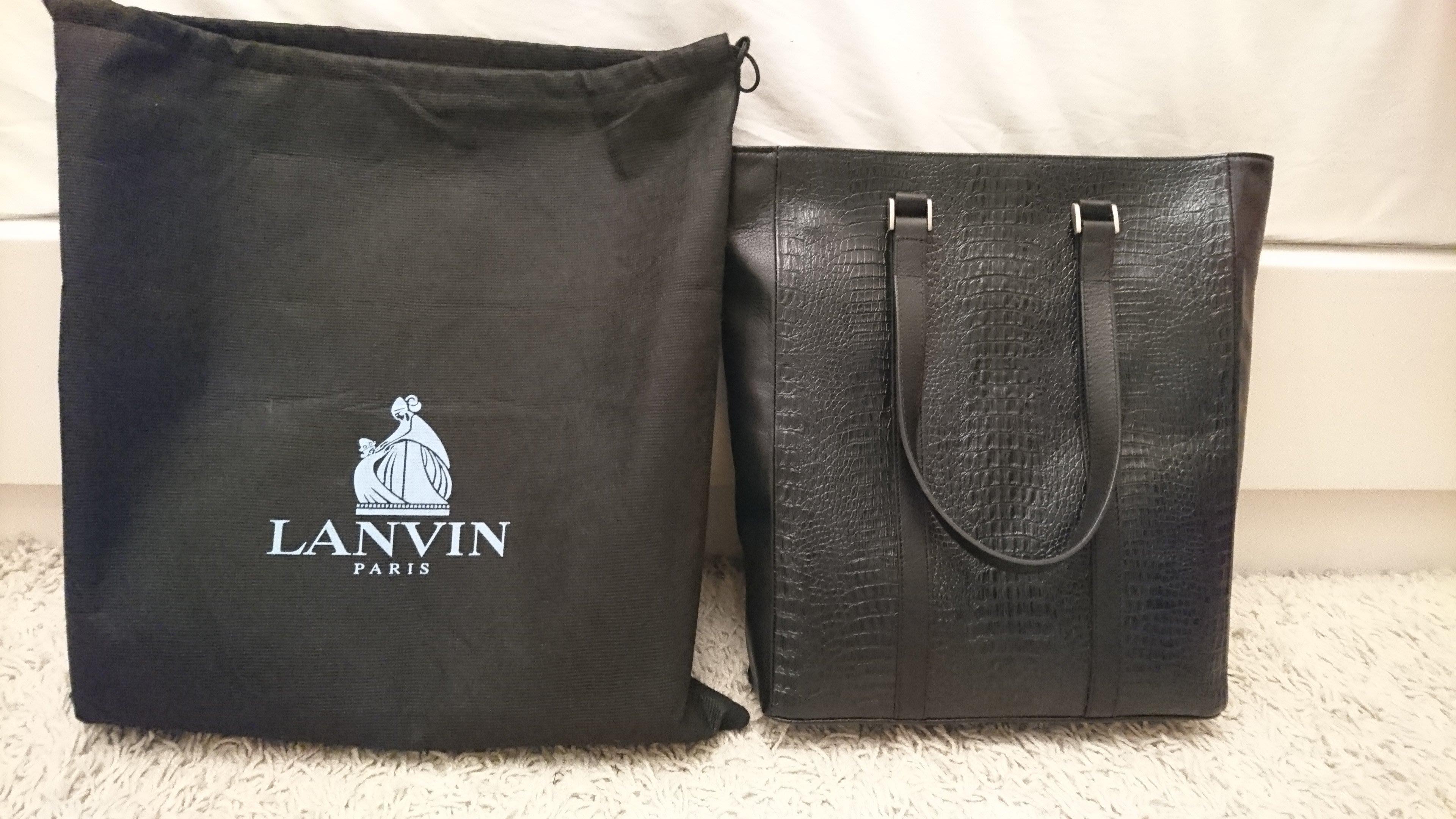 Lanvin 黑色全牛皮押鱷魚紋托特包