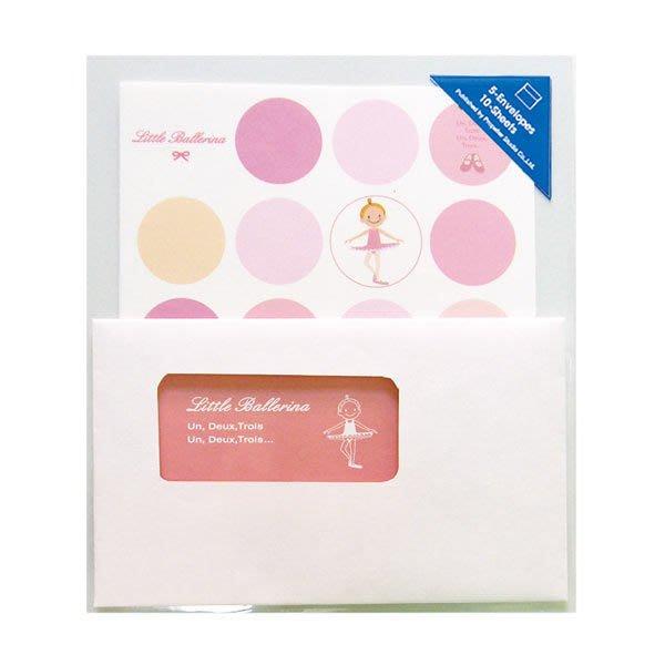 芭蕾小棧生日畢業表演禮物日本進口Little Ballerina可愛文具舞者透明信封信紙組粉色水玉