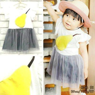 【班比納精品童裝】彈力小飛袖西洋梨拼接紗裙洋裝-白【BB16052006】