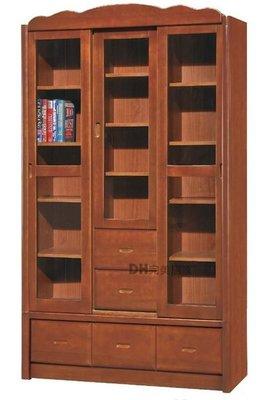 【DH】貨號E303-4《楓葉》4尺柚木色推門書櫃/書櫥˙質感一流˙古典設計˙主要地區免運