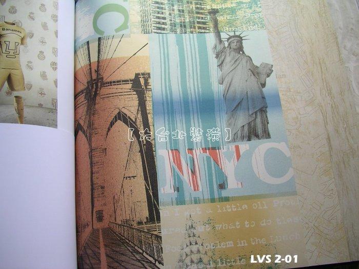 【大台北裝潢】LVS2進口平滑面純紙壁紙* 紐約時代 自由女神景點(3色) 每支1650元