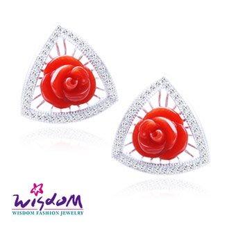 威世登 天然海洋紅珊瑚 銀耳環 -情人禮、生日禮、流行款、熱銷款-CF00041-EGFX