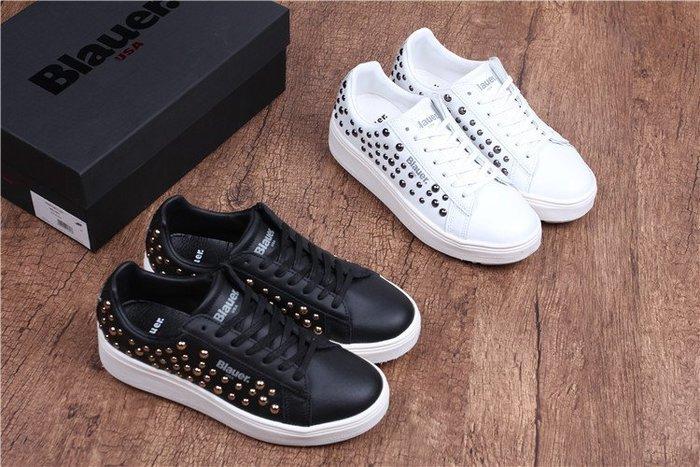 香港代購 義大利 Blauer 全真皮 厚底增高鞋 鉚釘款 ALL STAR開口笑風格 平底鞋 休閒鞋 運動鞋 鉚釘鞋