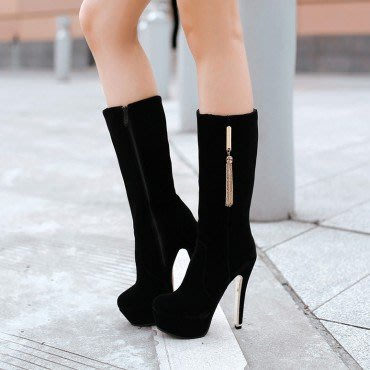 yes99buy加盟-秋冬新款女鞋 小流蘇防水台높은超高跟中筒女靴