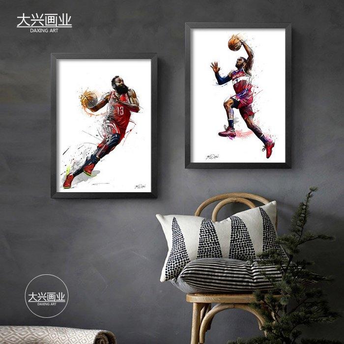科比威少哈登庫里沃爾詹姆斯杜蘭特艾佛森海報掛畫籃球NBA裝飾畫(9款可選)