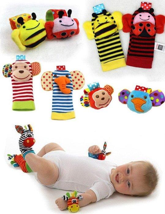 初生寶寶最愛的玩具 原單美國斑馬手搖鈴 手腕鈴 腳套 襪套 響紙