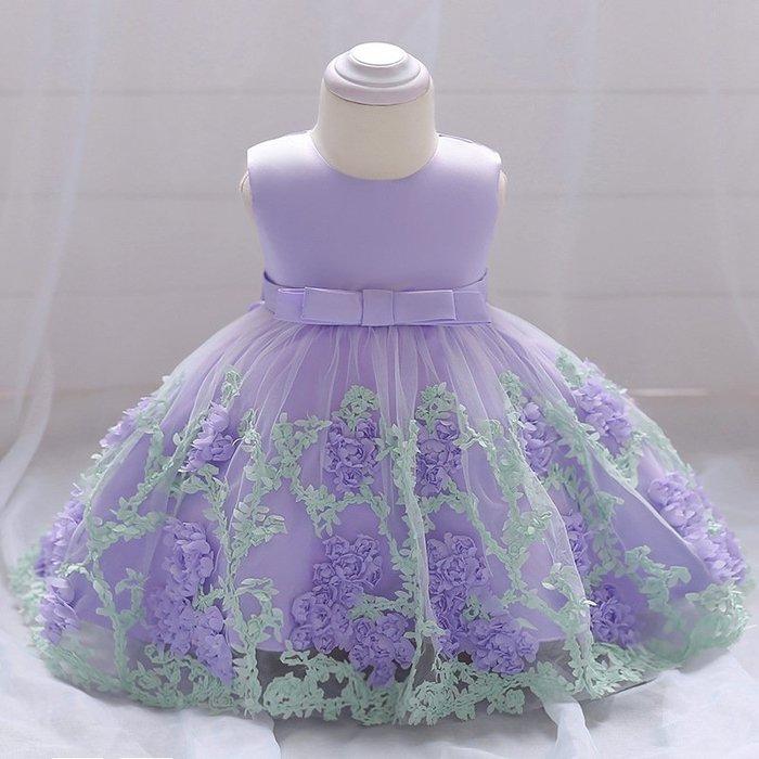現貨 女童雙色玫瑰裙蓬蓬洋裝禮服18MM010523