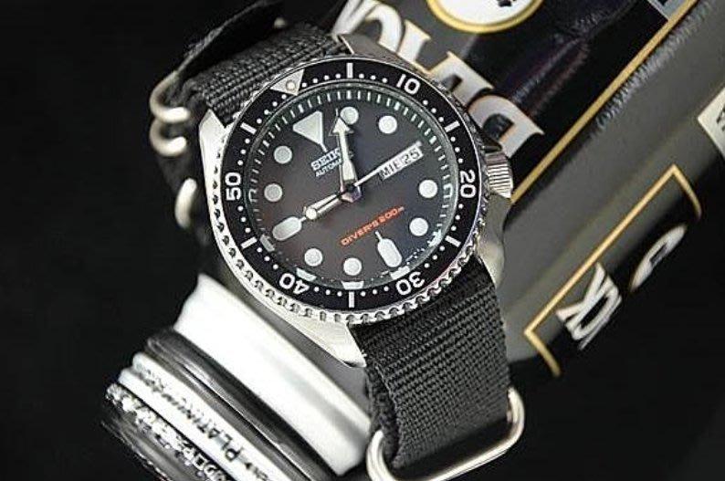 小小瑕疵出清品! ~生存遊戲必備特戰兵風格18mm nato zulu diver's黑色,尼龍錶帶防磁消光不鏽鋼錶扣
