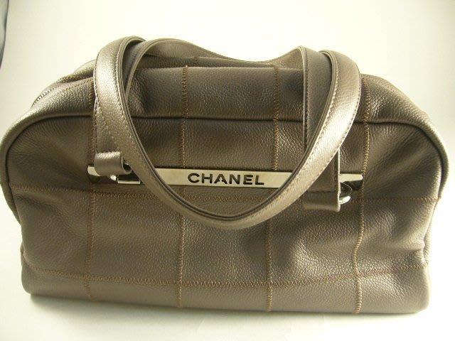 [吉宏精品交流中心]CHANEL 香奈兒 鐵灰色 格紋 手提包 肩背包