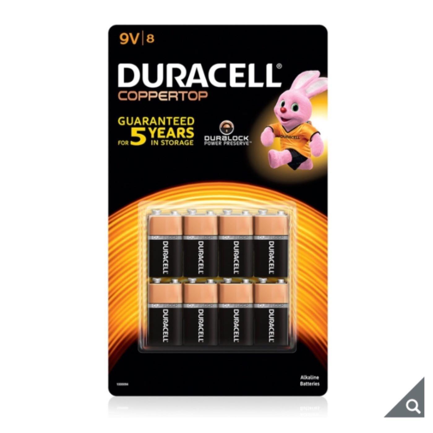Duracell 金頂鹼性9伏特電池 鹼性電池  8入