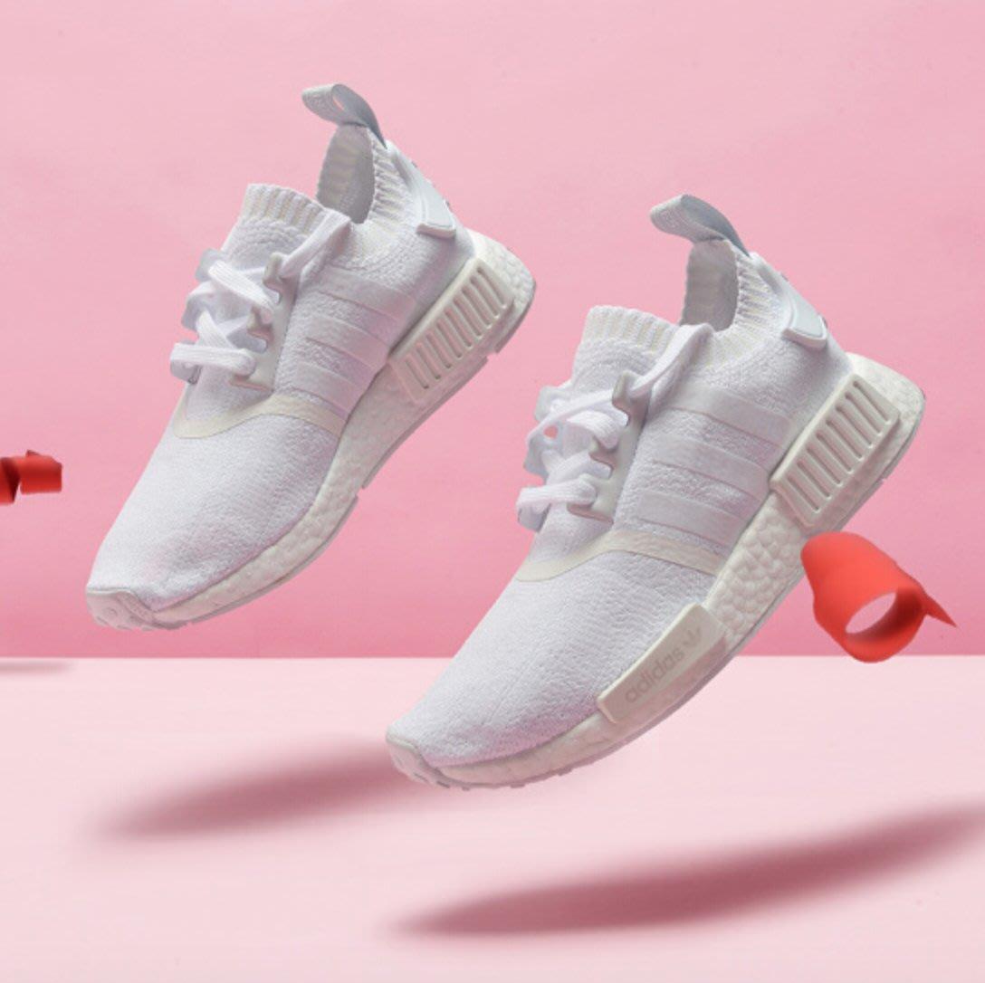 Adidas NMD R1 PK W 全白 白 BOOST 編織 女鞋 台灣公司貨 CQ2040