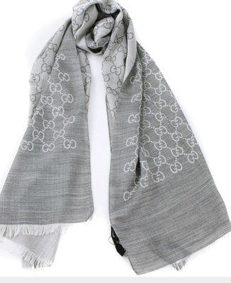 全新 Gucci 小 淺灰色 灰色 GG logo 圍巾 披肩 女用 義大利製 長方形 雙面雙色 70%羊毛 30%絲