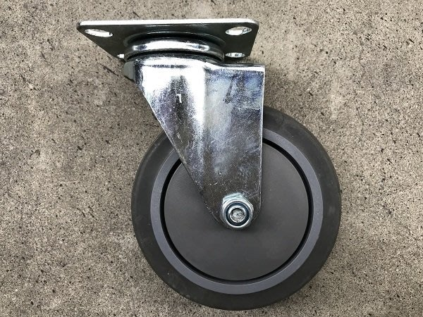 附發票*東北五金*專利型防滑式 頂級加厚培林儀器輪 高級PU輪 手推車輪 5吋 平板 (活動)