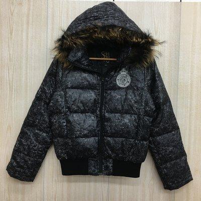 【愛莎&嵐】 SOMETHING 黑色印花連帽羽絨外套 / M 1061208