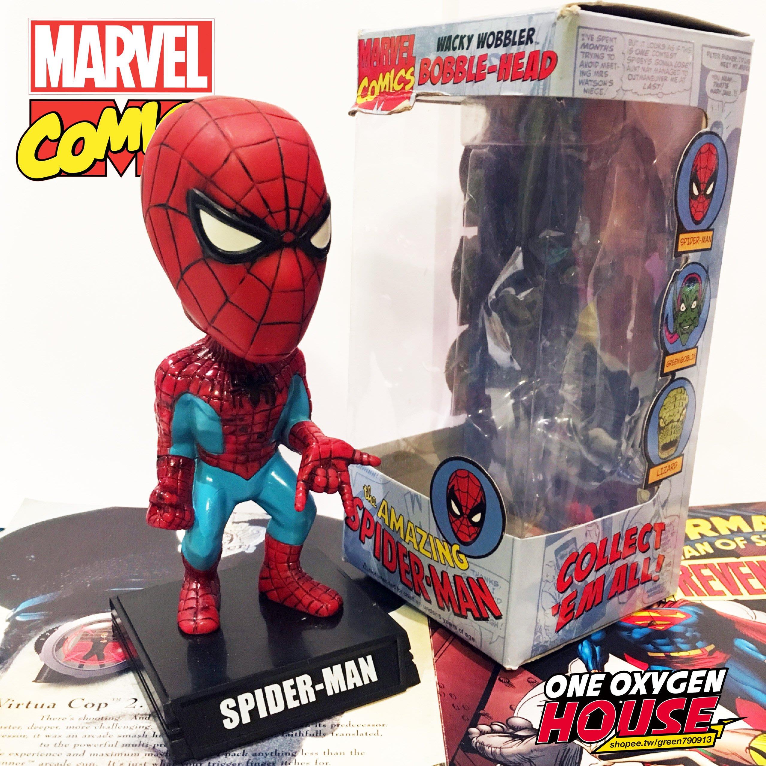 美國 2009S MARVEL 蜘蛛人 絕版 搖頭娃娃 公仔 玩具 擺件 復古 老玩具