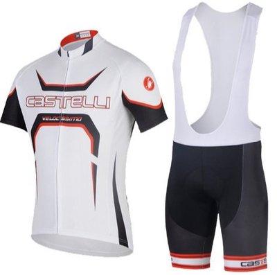CAS蠍子白色新款騎行服背帶短袖套裝排汗透氣單車衫裝備山地單車越野騎士服 運動短袖T恤緊身上衣+背帶褲子自行車單車服