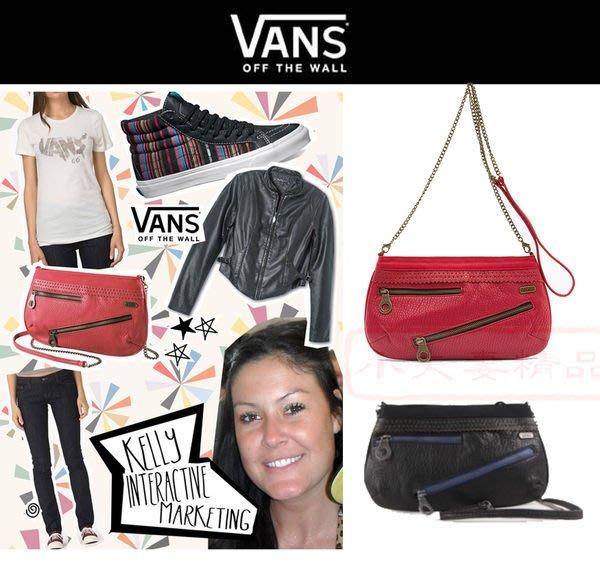 VANS 正品皮夾㊣潮流 外出小包 雜誌DM款 美國滑板精品 手拿包/側肩背包 黑/紅 正版!出清下殺$499