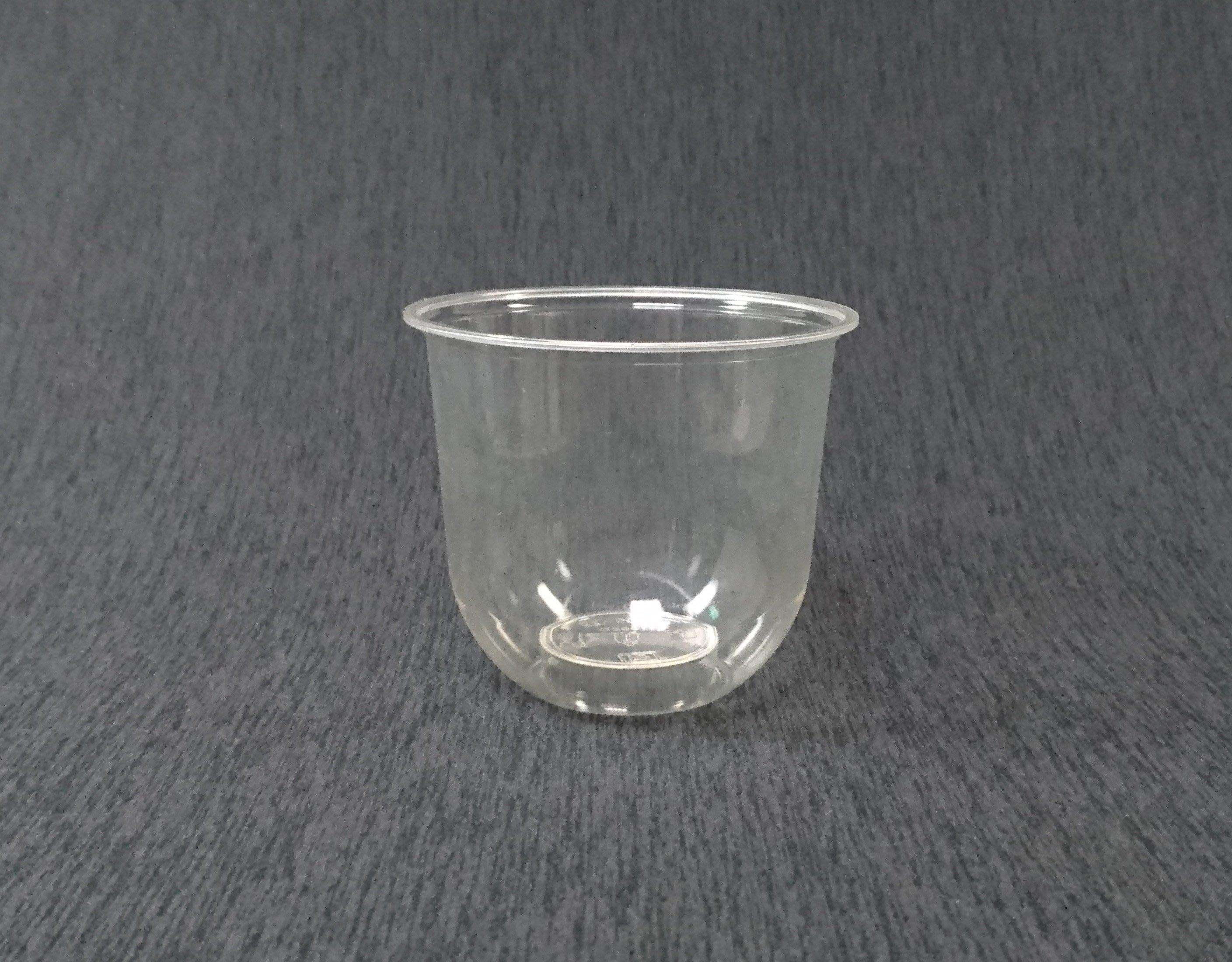 100個 環保可分解【PLA Q360 捲邊冷飲杯】U形杯 透明杯 塑膠杯 平面杯 啤酒杯 冰砂杯 外帶杯子
