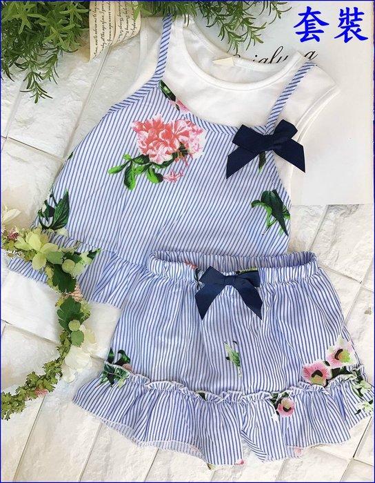 ※芭比童裝【藍色直條紋假兩件式花朵套裝(上衣+短褲)】尺碼:5-17號【春夏新款-特價200元】※