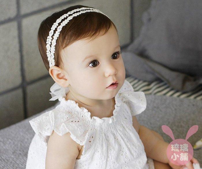 《琉璃的雜貨小舖》北鼻 超萌蕾絲蝴蝶結髮帶 嬰兒髮帶 造型周歲照 藝術照