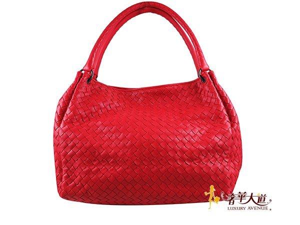 *奢華大道國際精品*【BV119】BOTTEGA VENETA 紅色編織小羊皮雙把肩背包