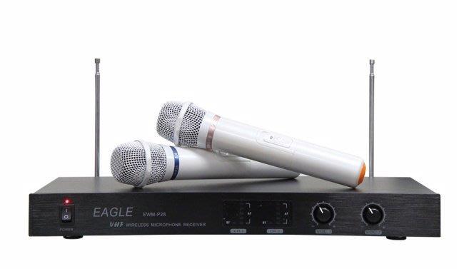 EAGLE小白P-28雙頻自動選訊高頻無線麥克風超級輕唱好唱完全不會費力買再送1500元有線麥克1支找桃園市音響店推薦