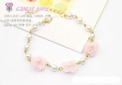 NiNa小舖【L057C1】韓國Candy Girl鍍真金甜蜜粉色蕾絲花朵珍珠氣質手鍊(圖色)現貨-滿2件免運