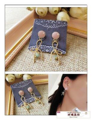 玫瑰森林-- ☆°* 美麗嚴選~獨特 優雅精緻的 金色蝴蝶結 小彩珠 耳針式耳環