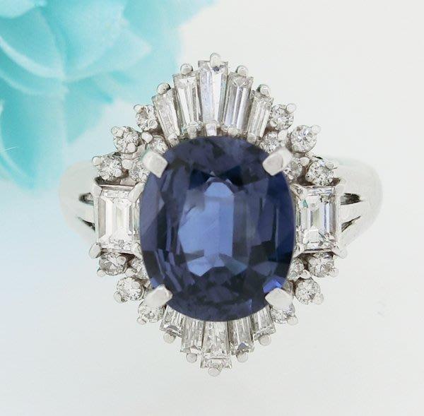 【JHT金宏總珠寶/GIA鑽石專賣】天然藍寶鑽戒S:3.07ct/D:0.90ct/PT900(S000041)