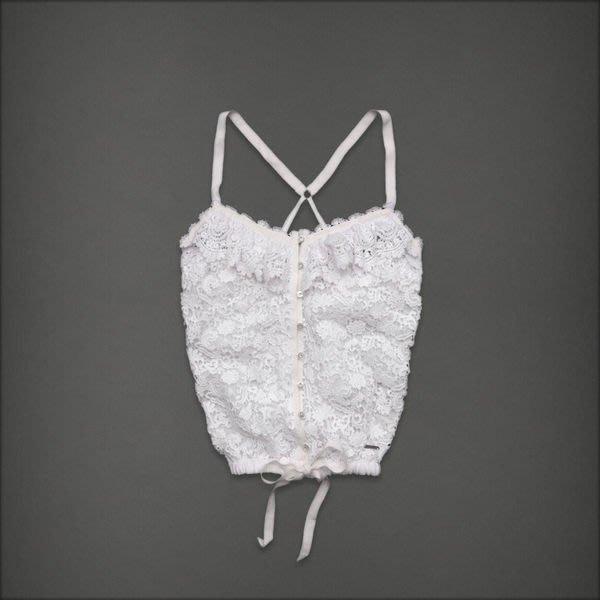《Cupio》現貨旗艦店款 A&F Abercrombie & Fitch Dessa花卉鑲空下擺束口細肩帶上衣(S)